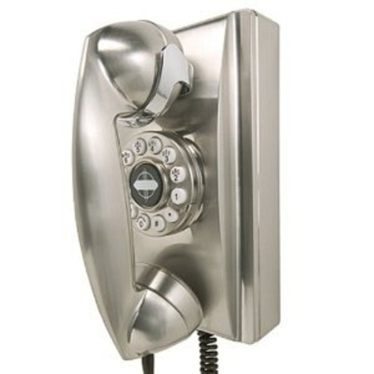 Crosley Wall Phone in Brushed Chrome. Not cordless but stylish and unusual.