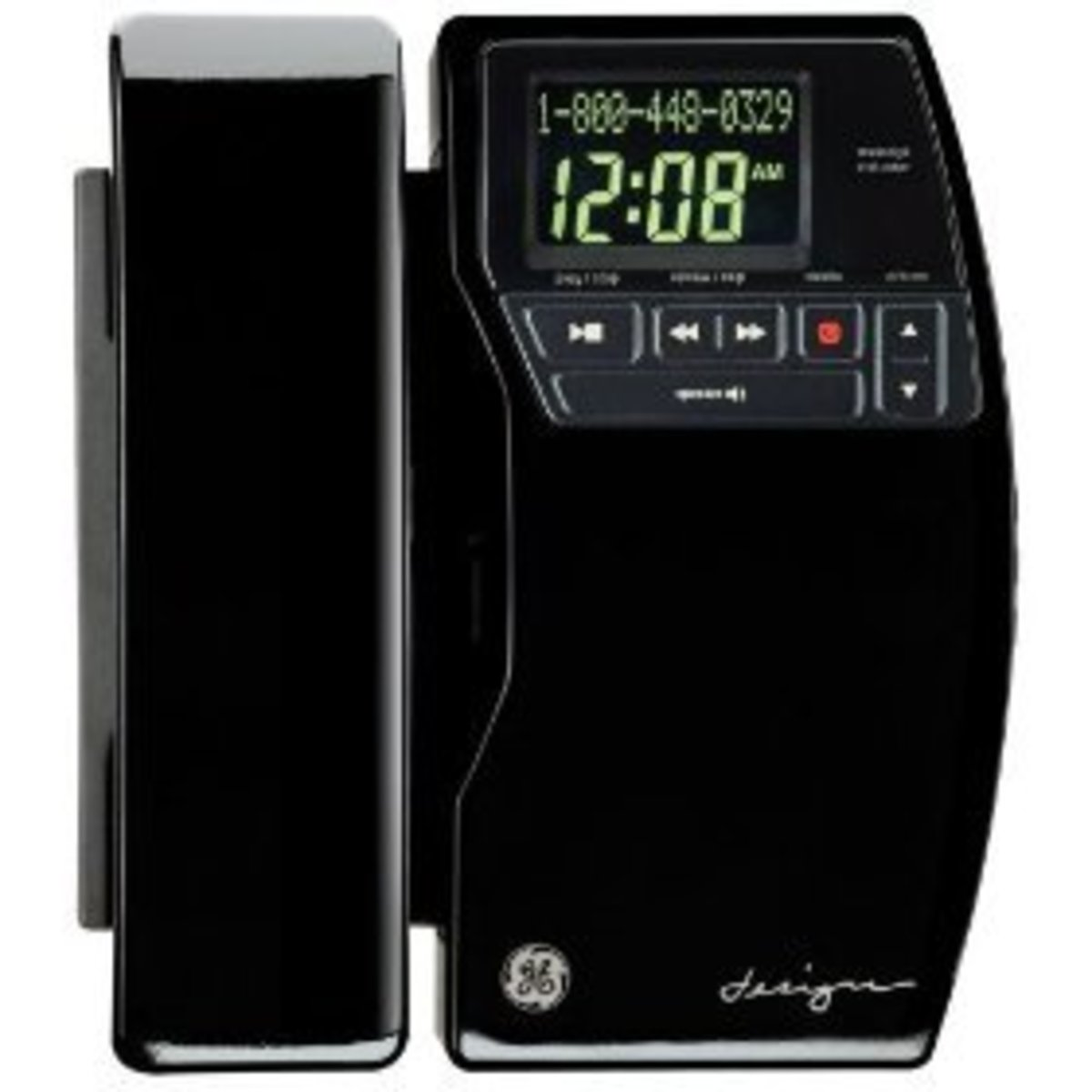 GE 27909FE1 Dect 6.0 Cordless High-Gloss Designer Phone with Digital Answering System and CID (Black)