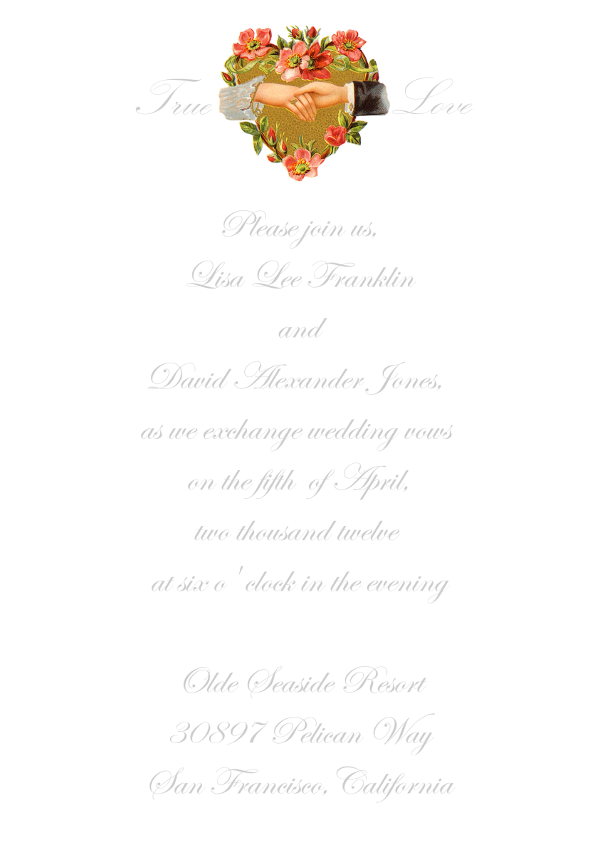 This vertical A7 sample shows just one of the many styles of invitations that can be made with the art on this page.
