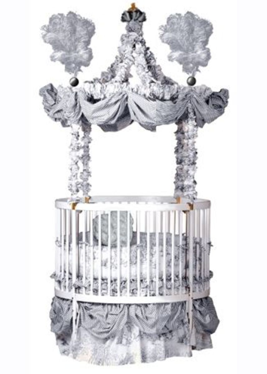 "This beautiful round-baby-crib, From the ""Little Miss Liberty"" Collection.  The Bedding is Little Miss Liberty's Louis XIV Universal Dome Set."