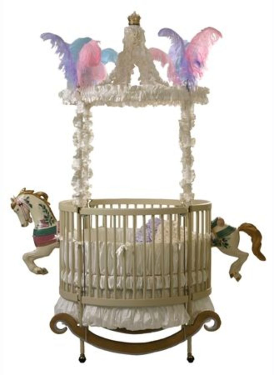"This beautiful round-baby-crib, From the ""Little Miss Liberty"" Collection.  The Bedding is Little Miss Liberty's Whipped Cream Universal Dome Set."