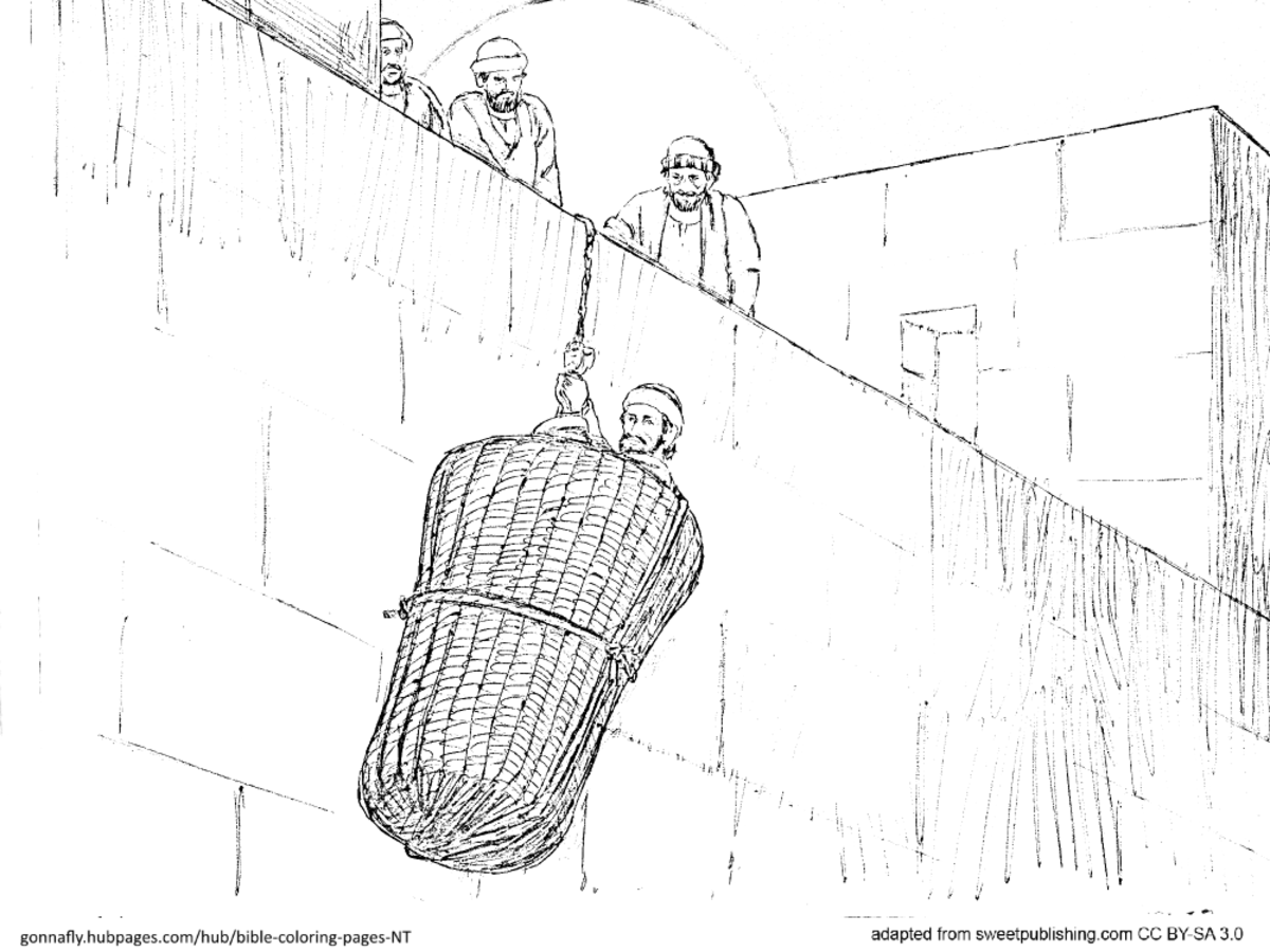 Acts 9 Paul / Saul lowered in a basket over the wall