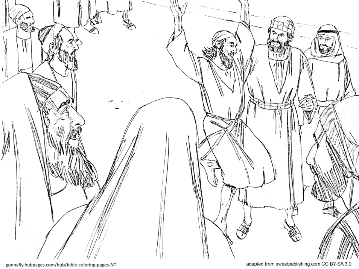 Heals Paralyzed Inside Coloring Page: Bible Coloring Pages - New Testament