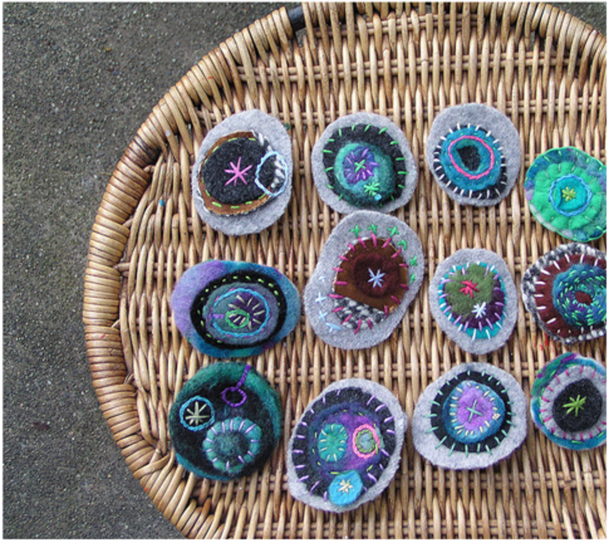 Made with sweaters, wool felt and embroidery stitches. I love the colours!