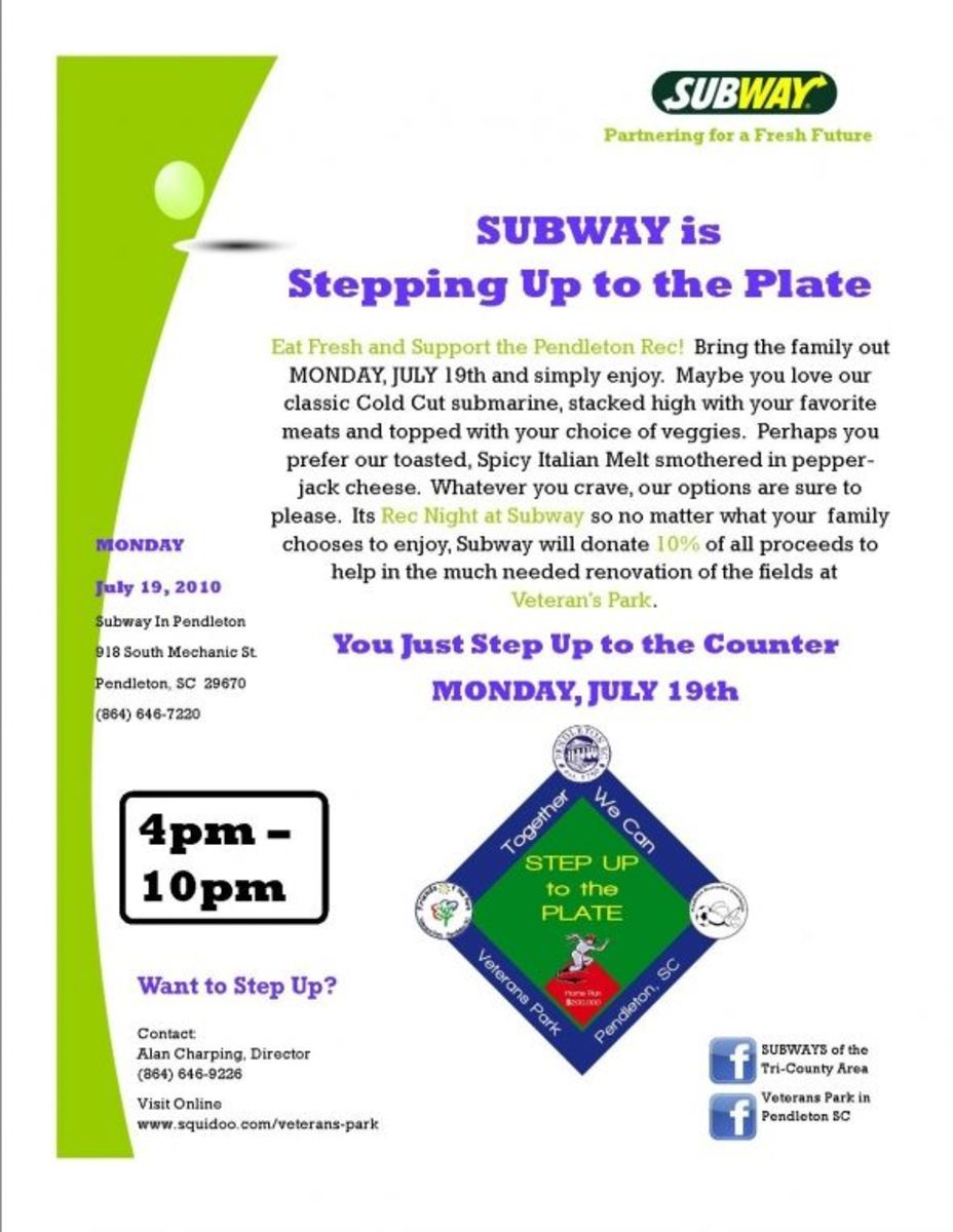 Subway Rec Night Thank you Subway! Wow, $123.25 for the first night - Thanks everybody!