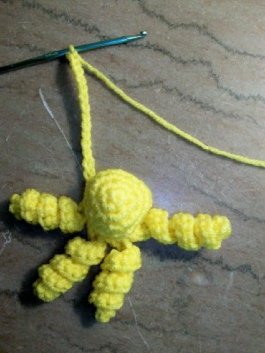 Crocheted spirals create the octopus tentacles.