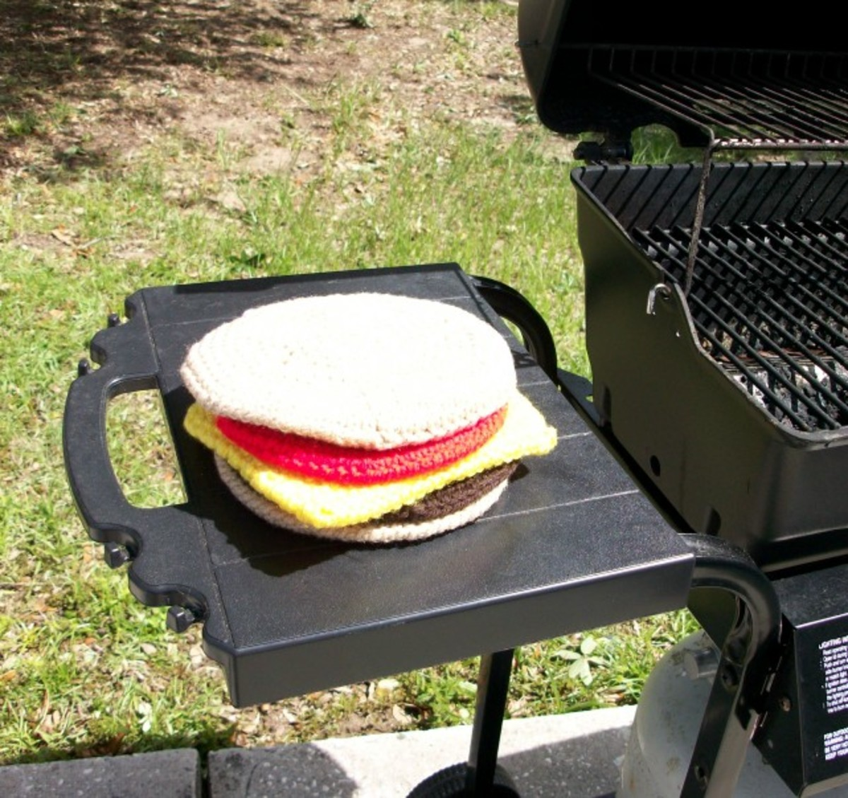 Crocheted Cheeseburger Potholder