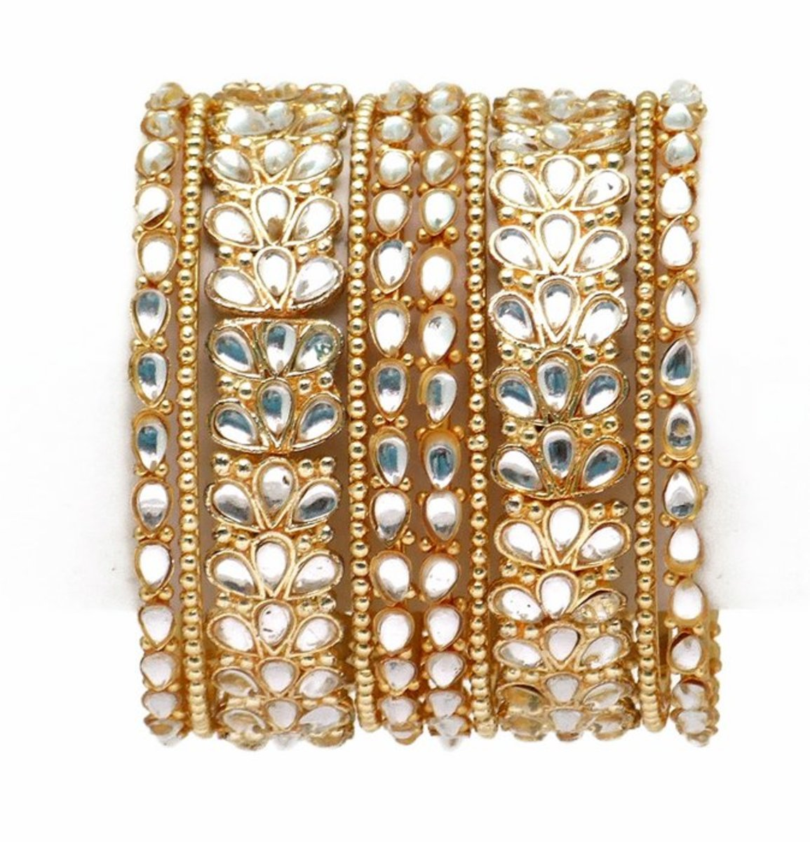 Gold and kundan bangle design