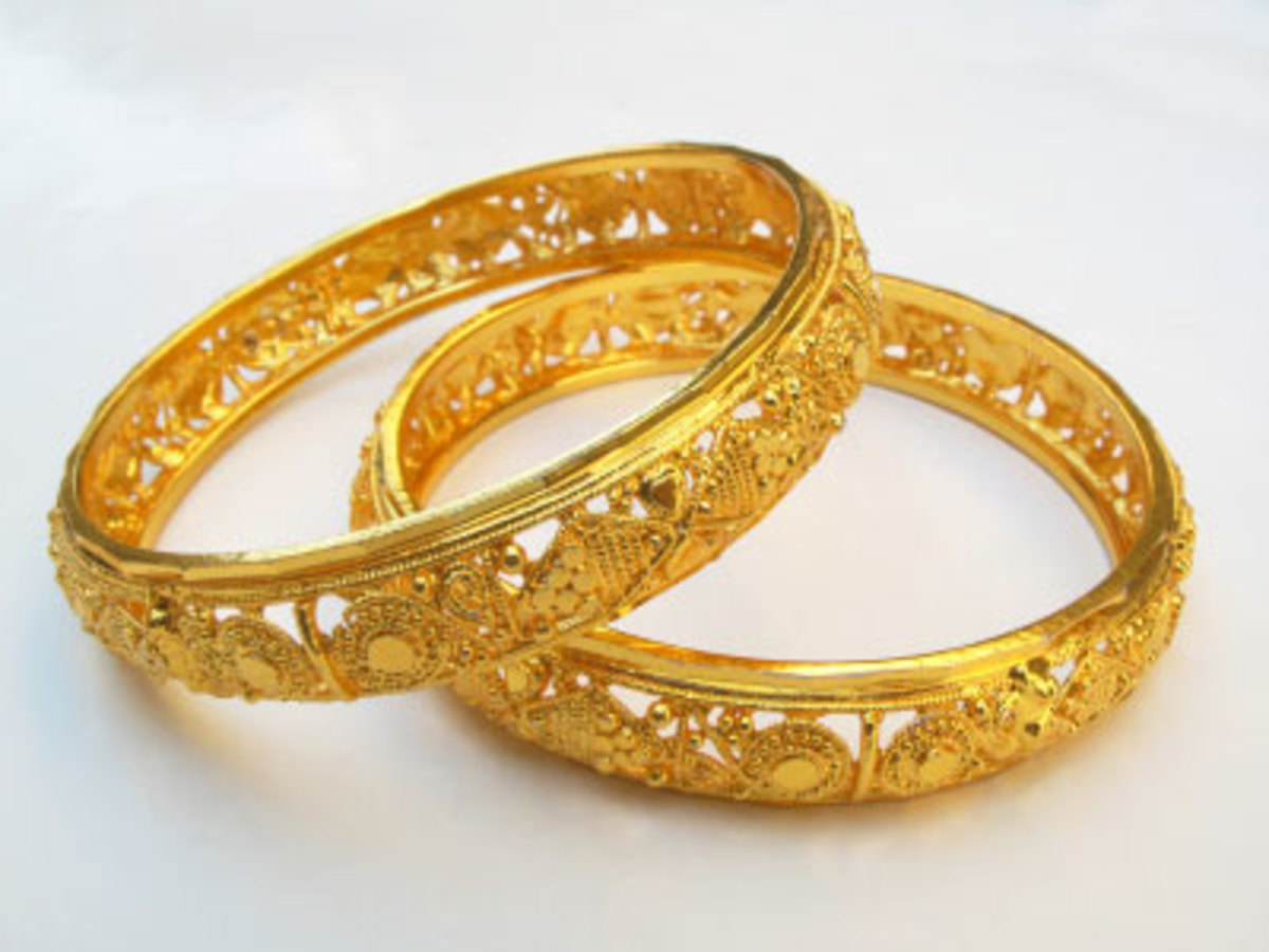Thick gold bangles
