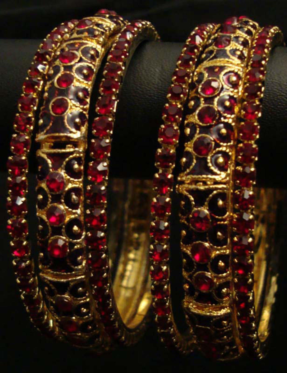 Ruby and Gold bridal bangle