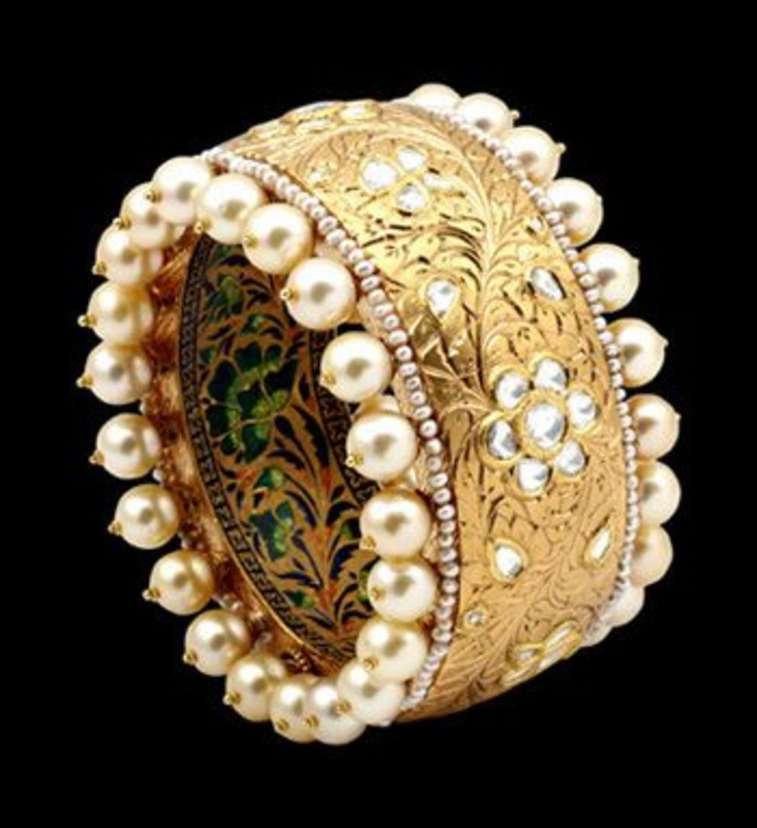 unique pearl and kundan with multi color meenakari design on bangles