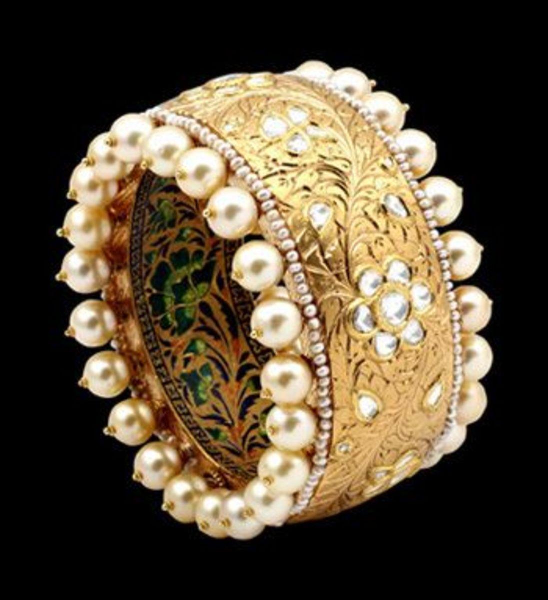 unique pearl and kundan with multi color meenakari design on bangles