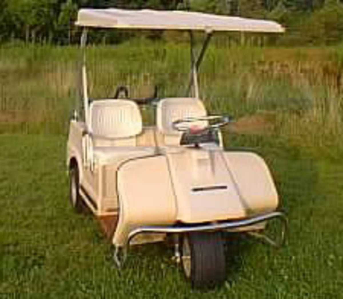 A piece of americana.  Three wheel Harley Davidson Golf cart in working condition.