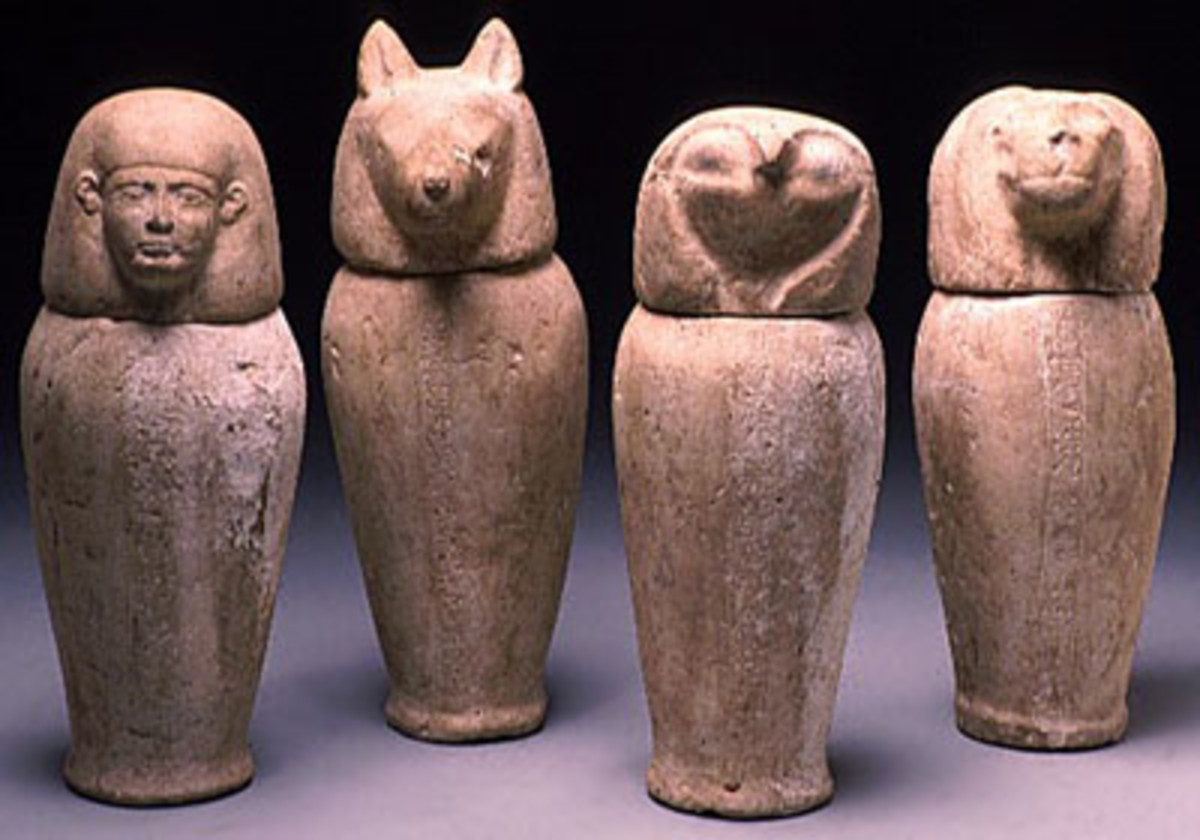 Canopic jars for the removed organs