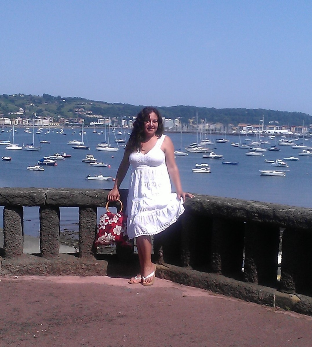 Wearing A Plus Size White Summer Dress in Hendaye, France