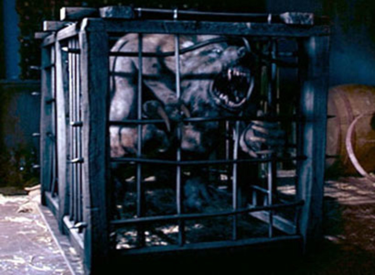Caged werewolf doesn't look happy
