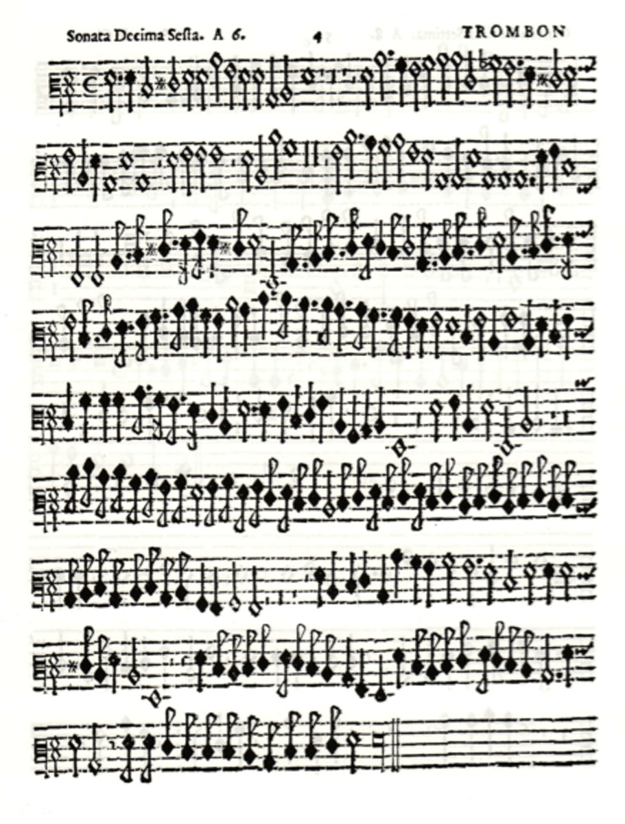 Trombone part from Giovanni Picchi's Sonata Decima Sesta (1625), labeled trombon.