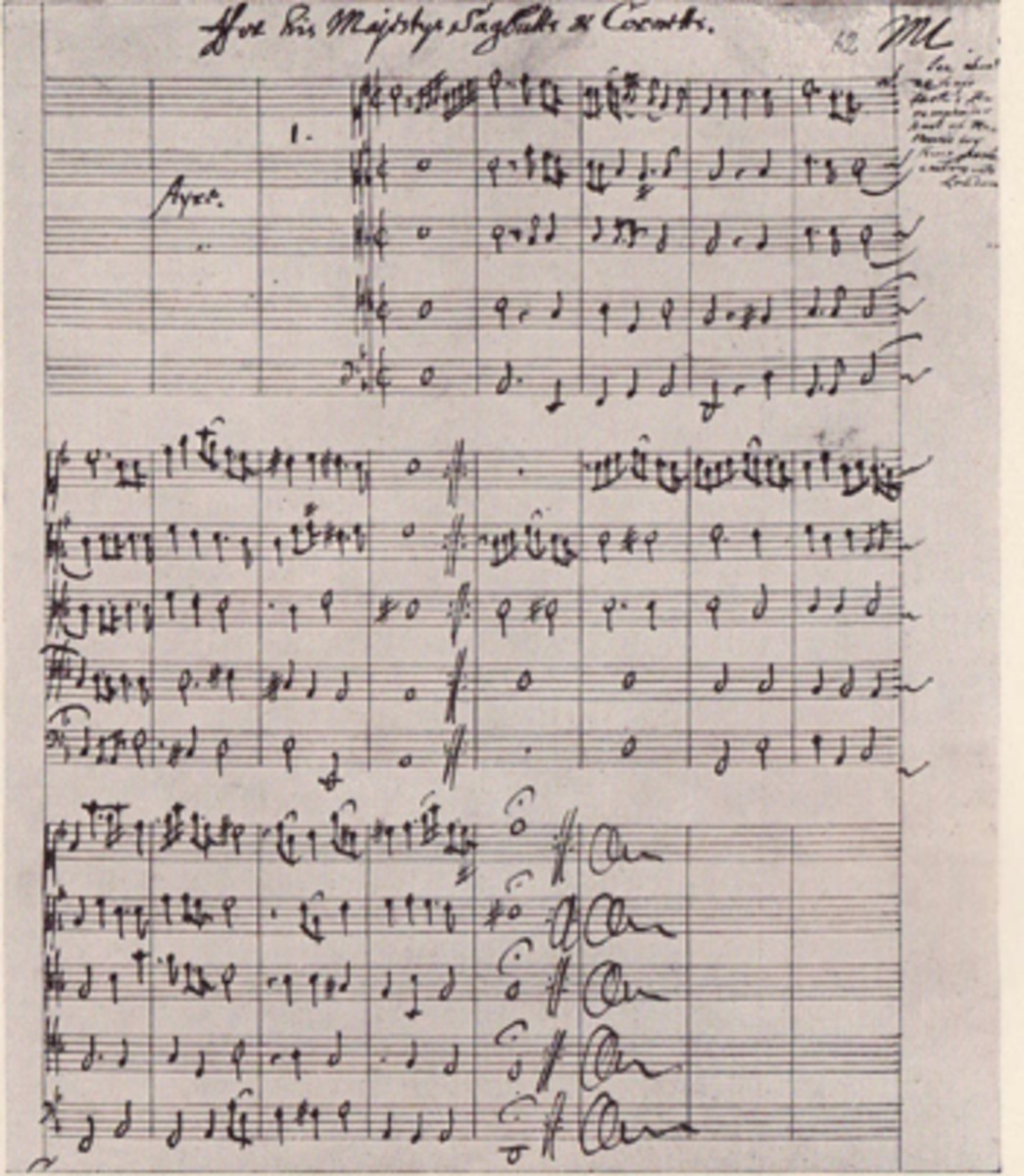 Manuscript from Matthew Locke's Music for his Majestys Sagbutts and Cornetts (1661), probably written for the coronation of Charles II.