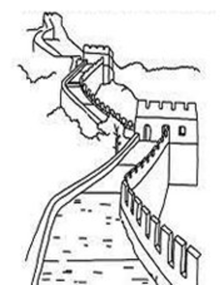 National Landmark Coloring Pages - Historic Tourist Attractions -  Great Wall of China