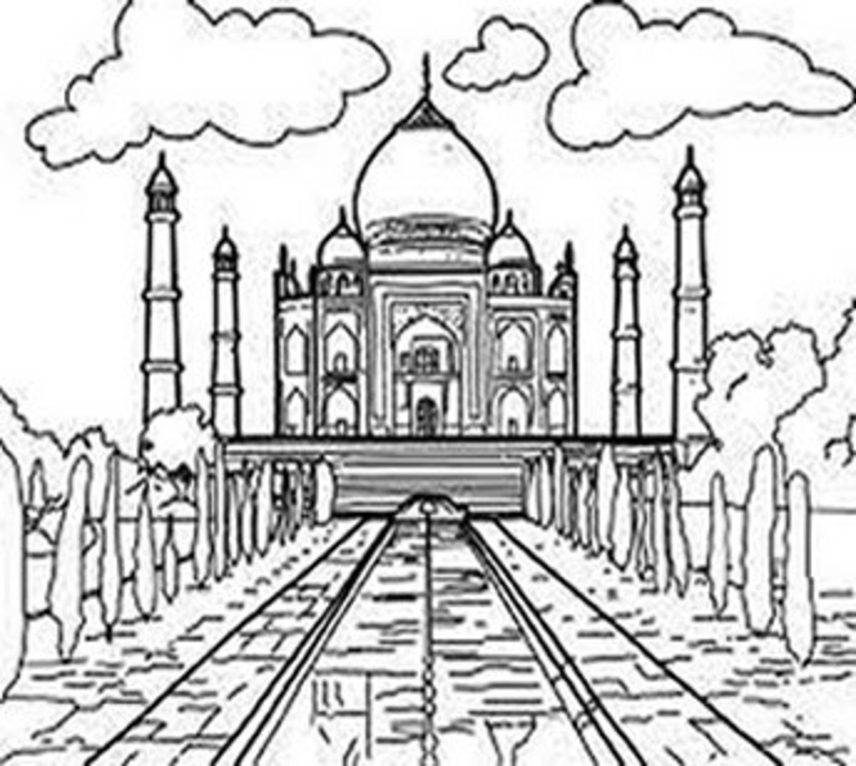 National Landmark Coloring Pages - Historic Tourist Attractions - Taj Mahal - India
