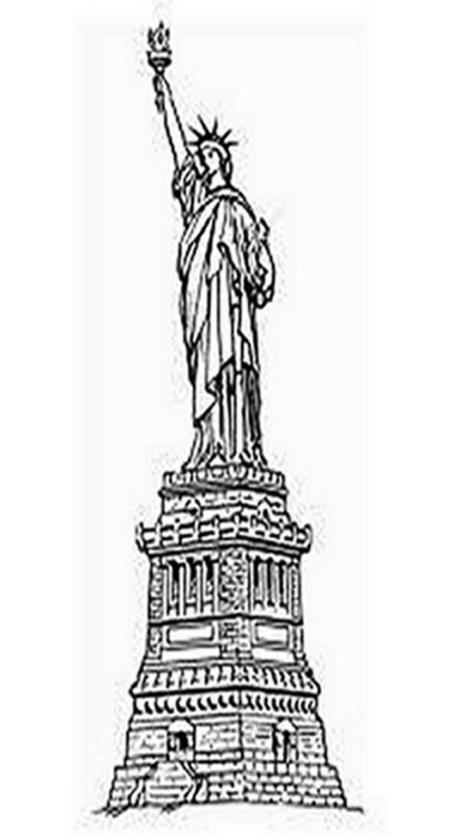 National Landmark Coloring Pages - Historic Tourist Attractions - Statue of Liberty - USA