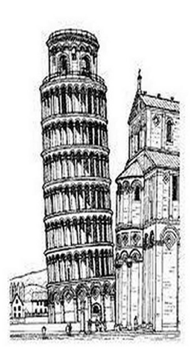National Landmark Coloring Pages - Historic Tourist Attractions - Leaning Tower of Pisa, Italy