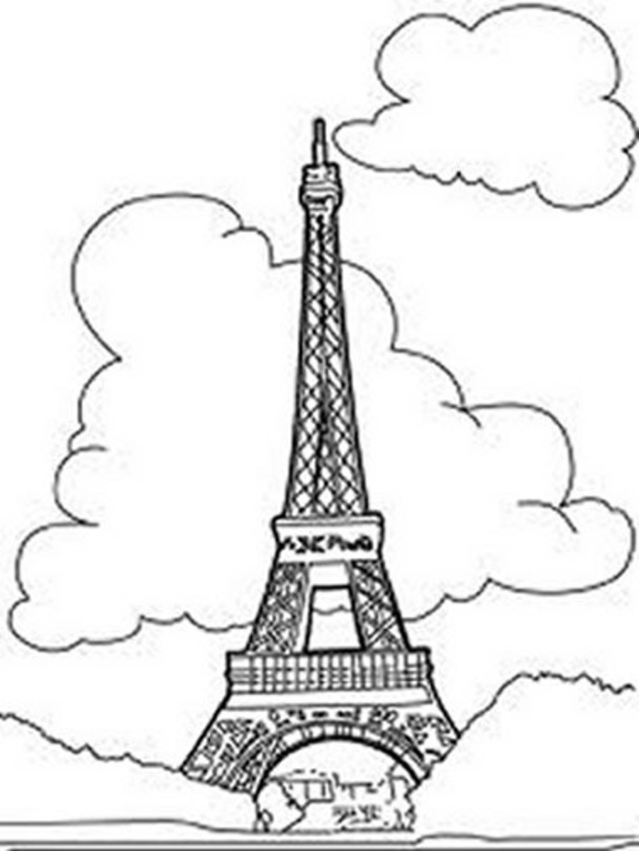 National Landmark Coloring Pages - Historic Tourist Attractions -  Eifel Tower - Paris - France