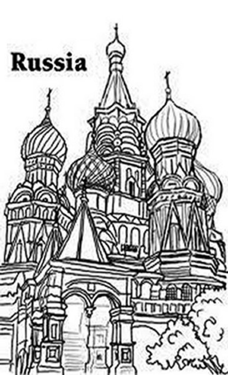 National Landmark Coloring Pages - Historic Tourist Attractions -  Russia -Domes of the Kremlin
