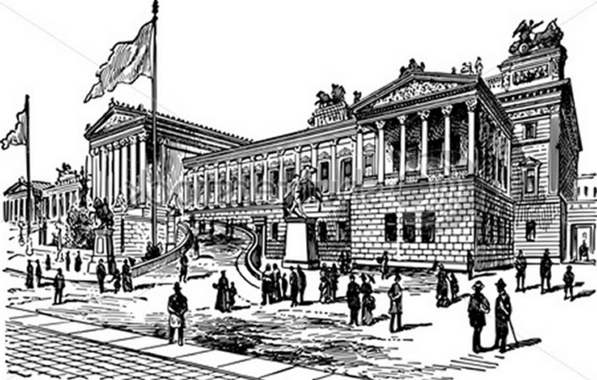 National Landmark Coloring Pages - Historic Tourist Attractions -  National Palace - Vienna - Austria