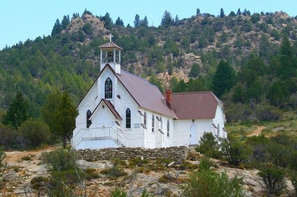 A view of the Old Church at Silver City from afar