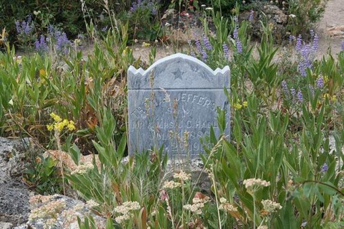 Thomas Jefferson Headstone in Silver City cemetery, in Idaho