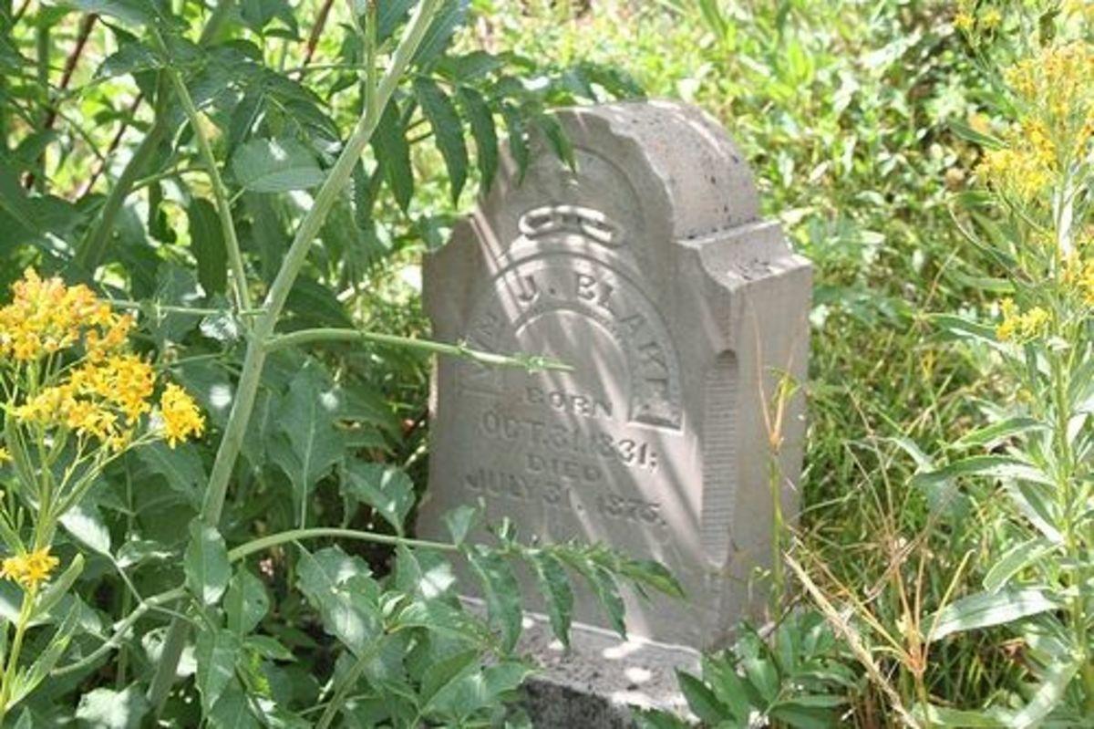 Wm J. Blake Headstone Silver City Cemetery in Idaho