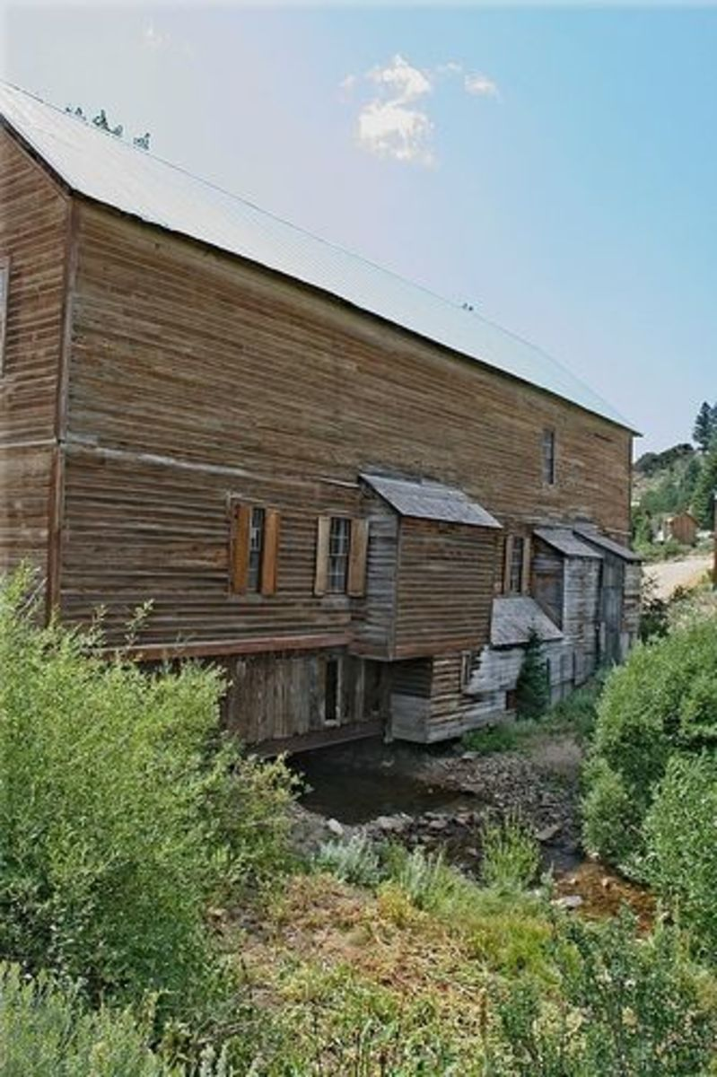 Side view of The Masonic Hall in Silver City, Idaho