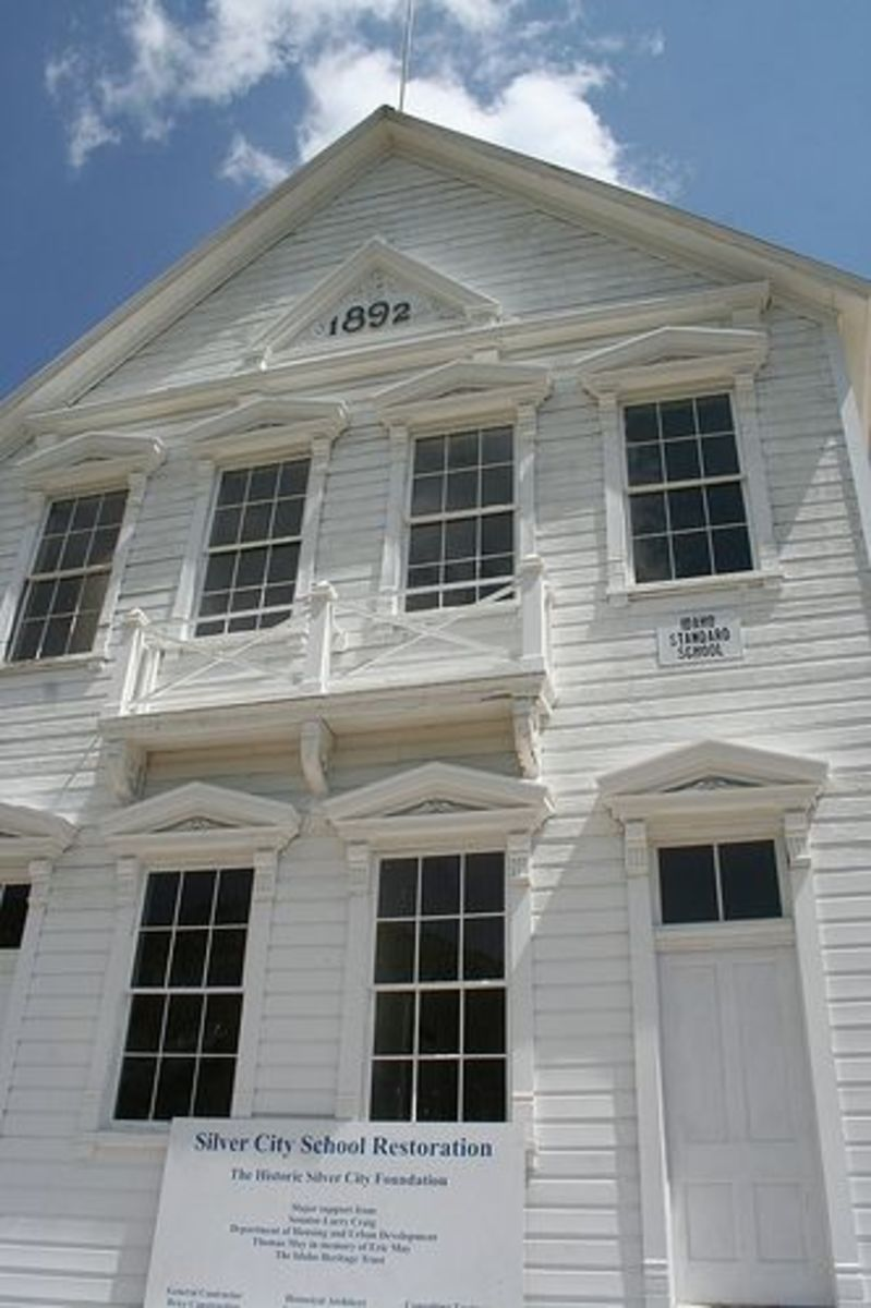 Front view of The old Silver City Schoolhouse