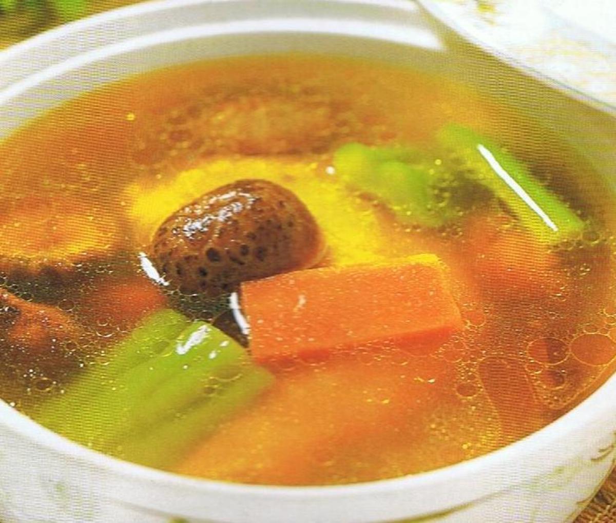 Bitter gourd, Carrot, Mushroom Chicken Soup
