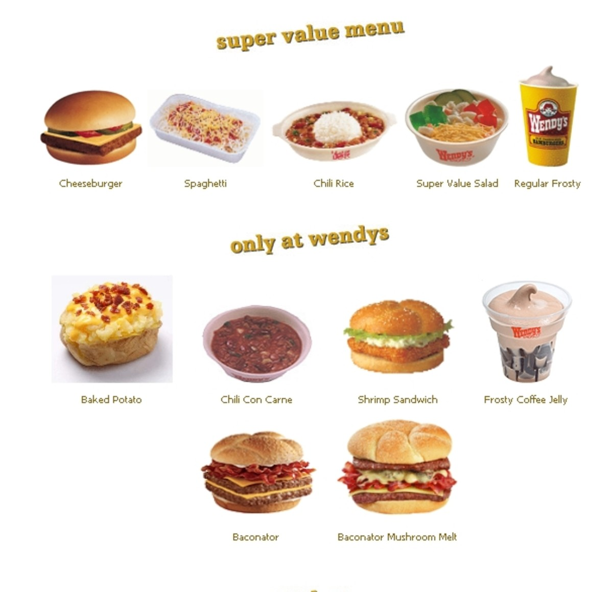Wendy's Delivery Menu