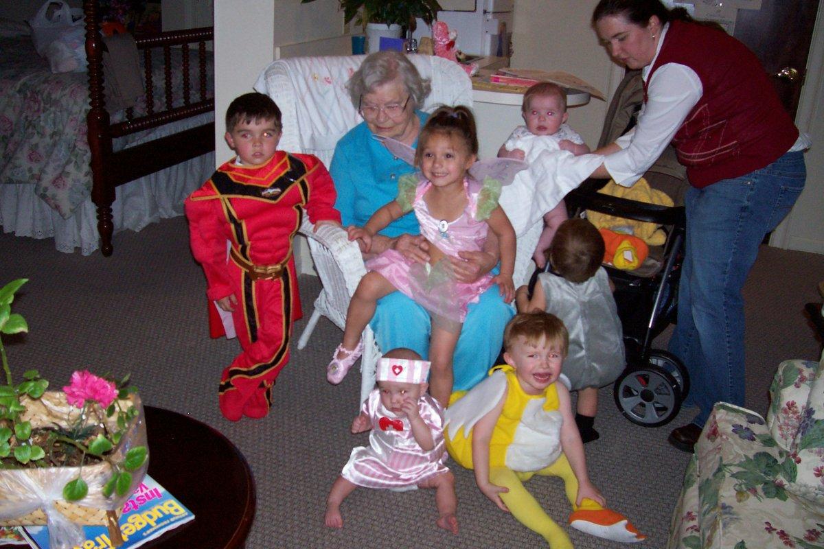 Mom and her great-grandchildren
