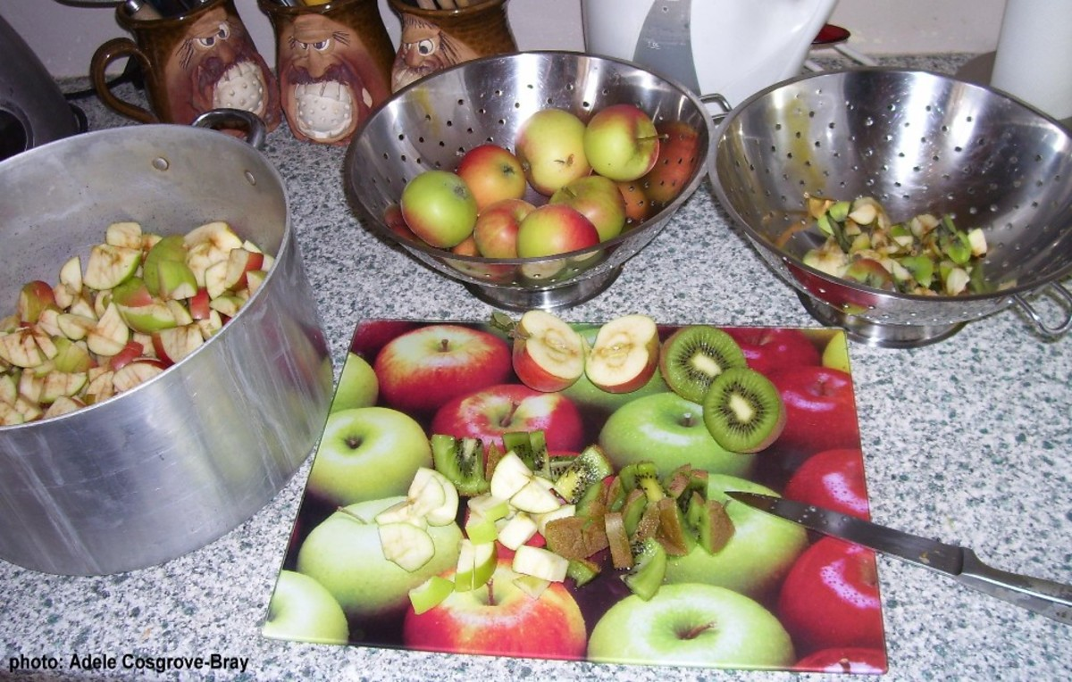 Dice the fruits - don't fuss about pips or peel, but apple stalks are destined for the compost heap.