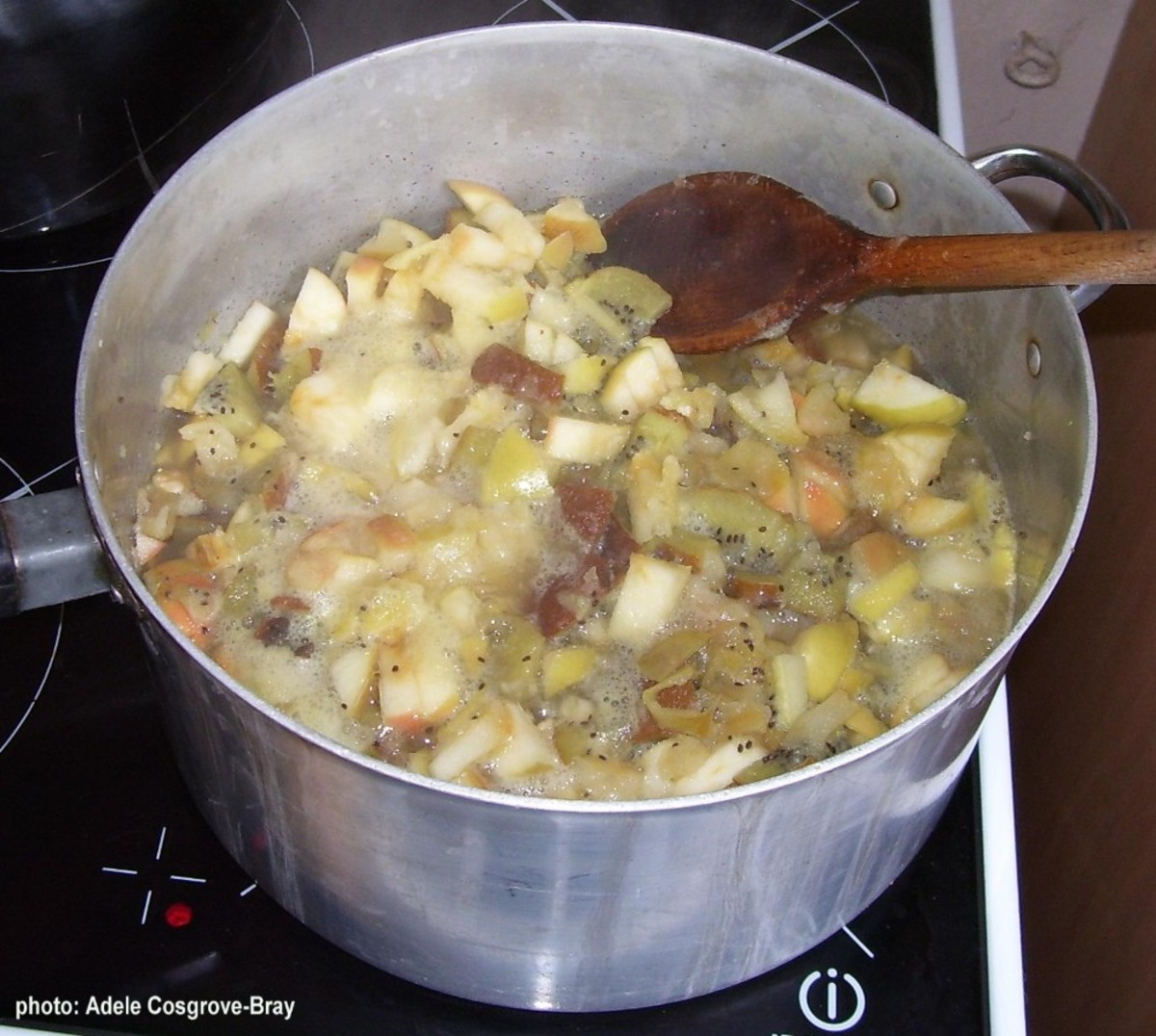 Diced fruit coming to the boil.  Add some cinnamon or ginger if you wish.
