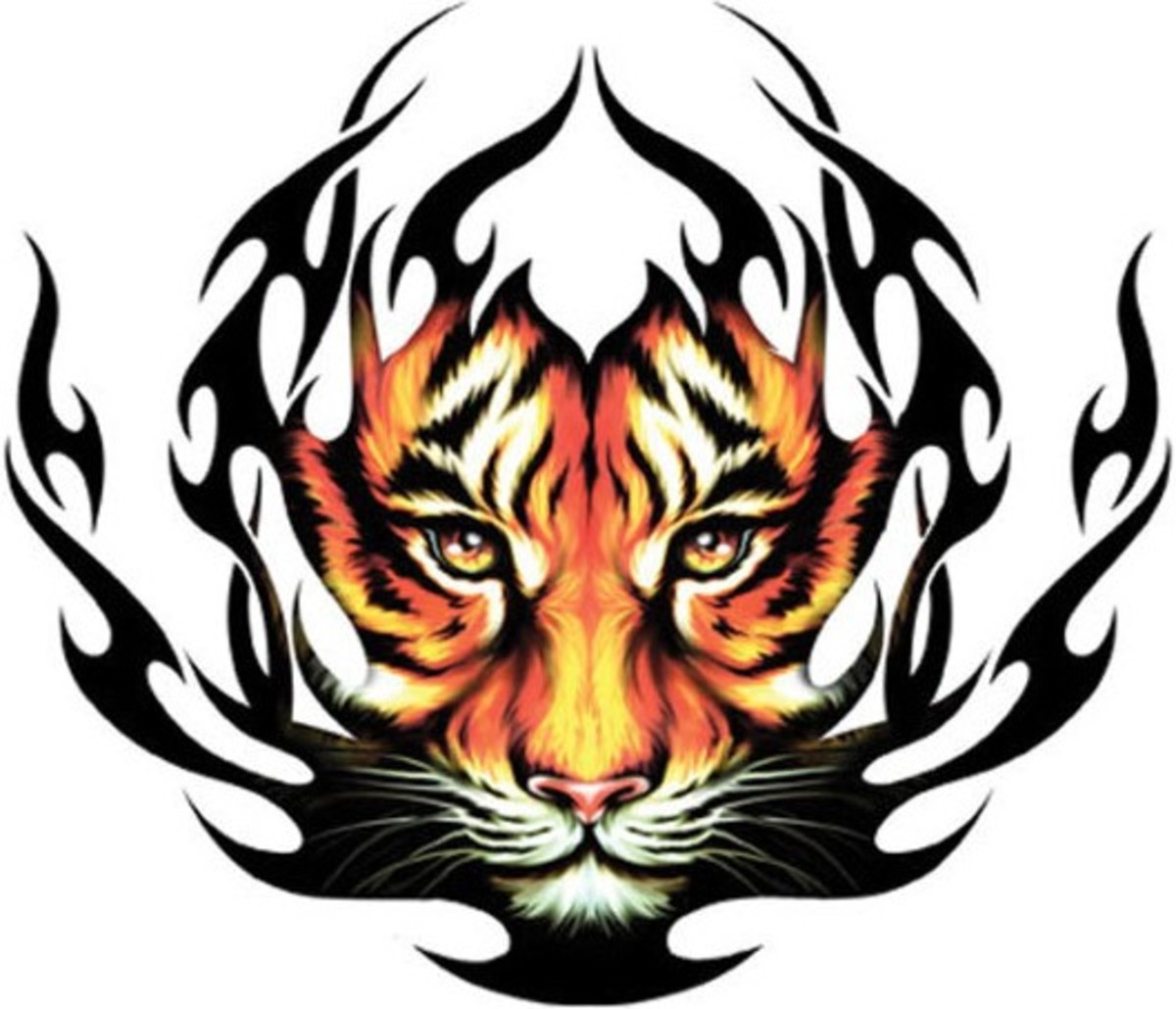 Tiger in Tribal Fire - Tribal Tattoo for Men or Women