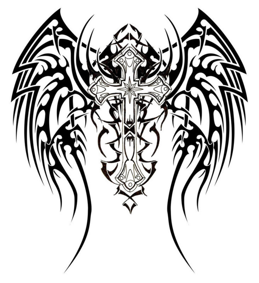 Wings with Cross - Tribal Tattoo