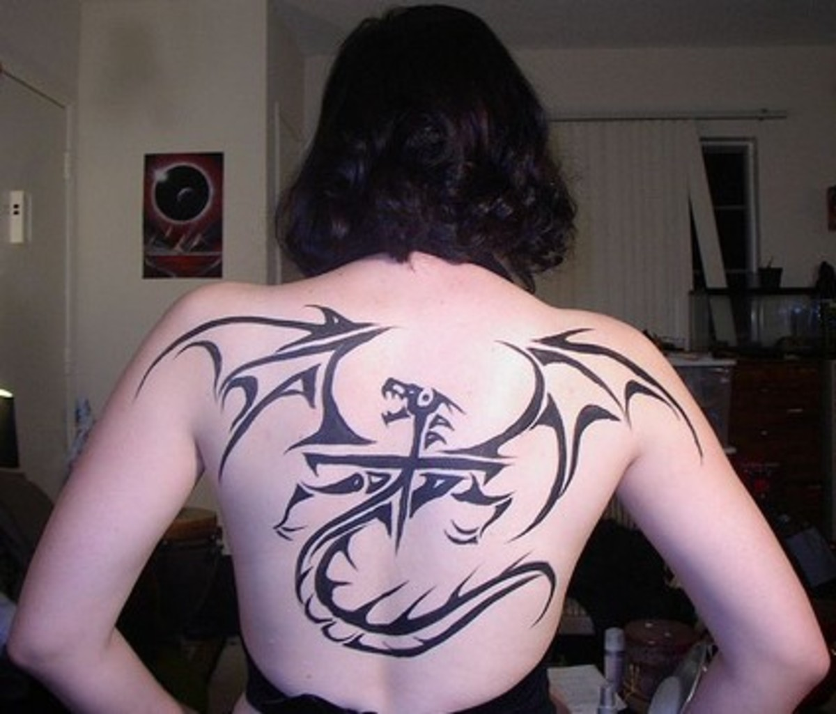 Dragon with Cross - Tribal Tattoo for Women