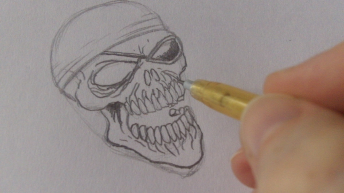 Add lines on the skull for more detail