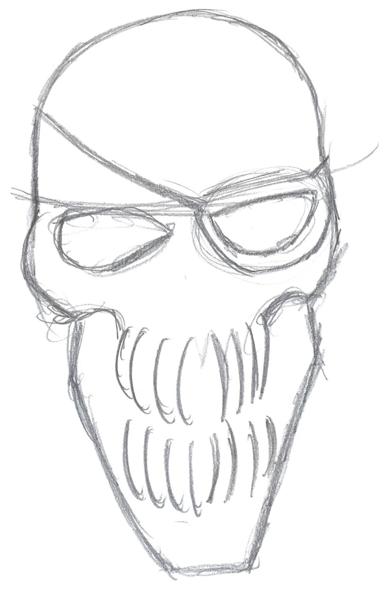 Drawing a pirate skull step two - Skull shaping.