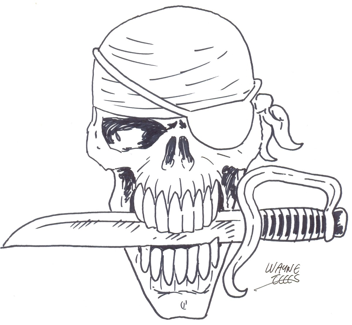 Learn how to draw a pirate skull step four - applying ink with some gel ink pens or whatever you want.    Pirate skull art Copyright Wayne Tully 2010.