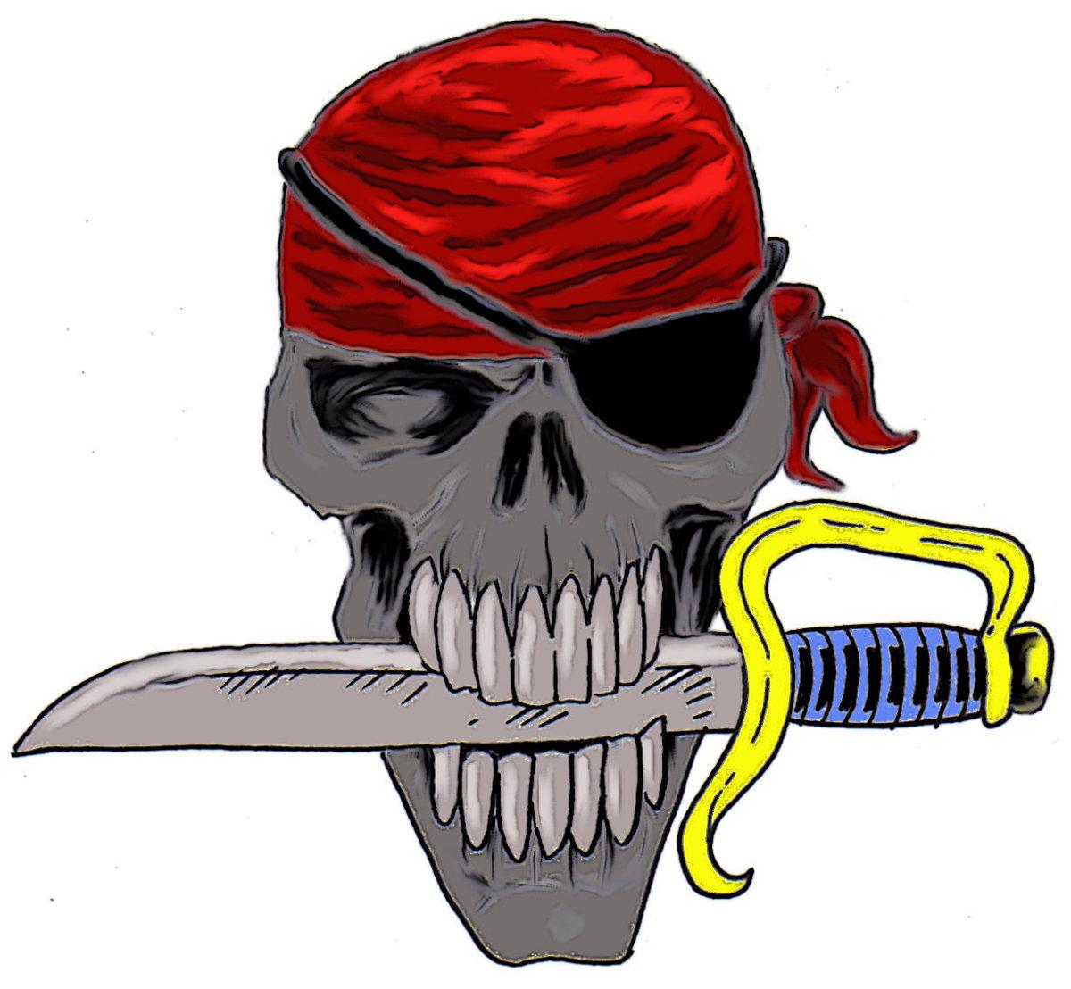 Skull with Bandana Drawing