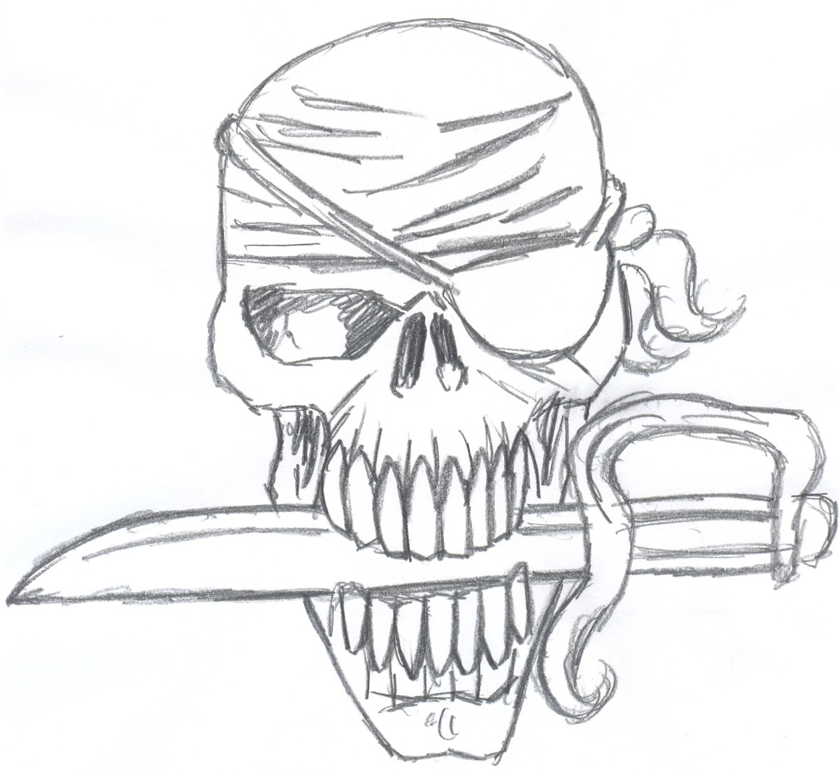 How to draw a pirate skull for Halloween.  Setp three - Adding more details brings out the character of this pirate skull.