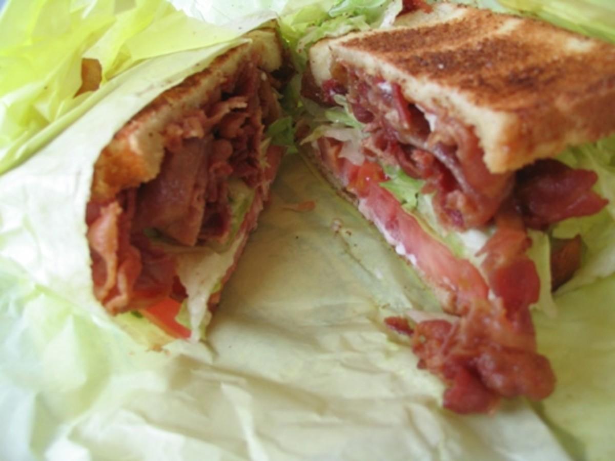 Yummy toasted bacon sandwich