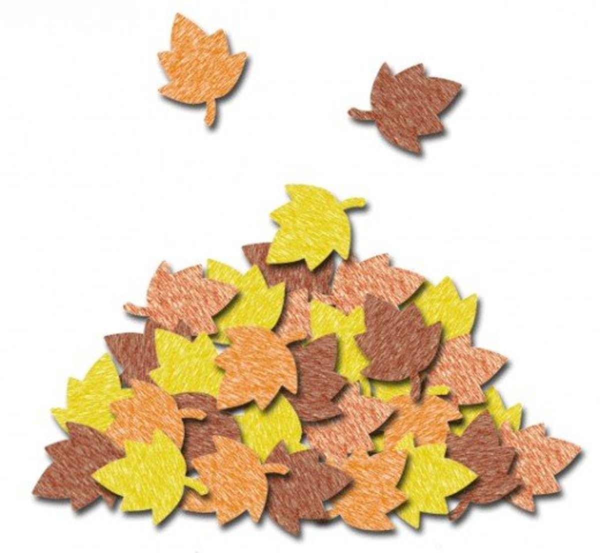 Crayon colored pile of leaves clip art.