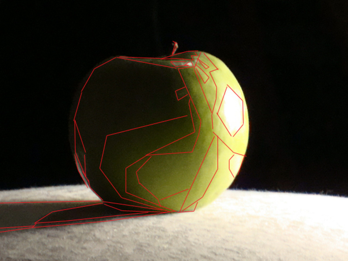 This is the same apple broken up into shapes.  These shapes are what make up a painting.